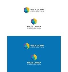 colored icosahedron logo vector image vector image