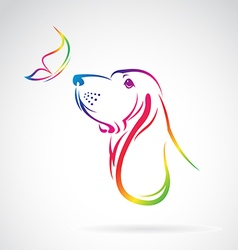 Dog and Butterfly vector image