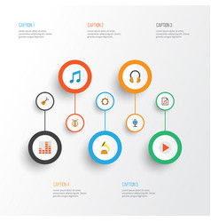 Music flat icons set collection of tone rhythm vector
