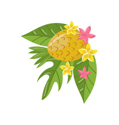 pineapple palm leaves and flowers design element vector image