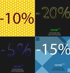 20 5 15 icon Set of percent discount on abstract vector