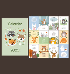 2020 calendar design with cute little animals vector image