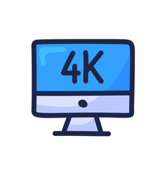 4k movie monitor simple outline color icon vector