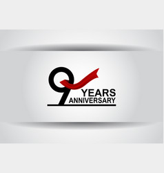 9 years anniversary design with red ribbon vector