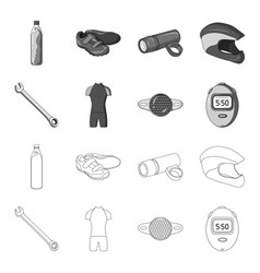 A wrench a bicyclist bone a reflector a timer vector
