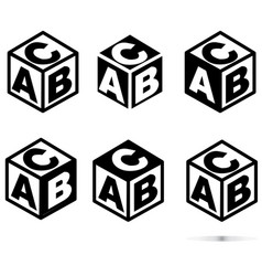 abc block sing on white background flat style vector image