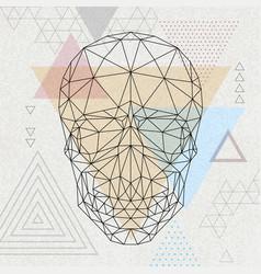 Abstract polygonal tirangle human skull vector