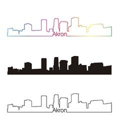 Akron skyline linear style with rainbow vector image