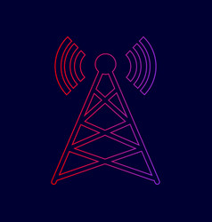 antenna sign line icon with vector image