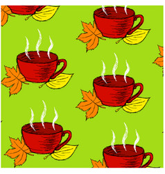 background pattern with red cup and leaves vector image