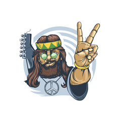 Bearded hippie with a guitar behind his back vector