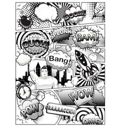 black and white comic book page divided lines vector image
