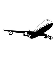 black and white plane vector image