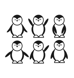 black cute funny penguin set flat icon vector image