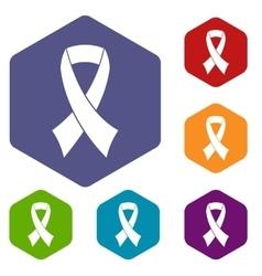 Breast cancer awareness ribbon icons set vector