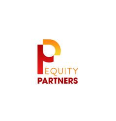 Business partner letter p icon vector