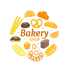 Cartoon color bakery banner card vector
