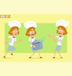 Cartoon flat chef cook girl character set vector