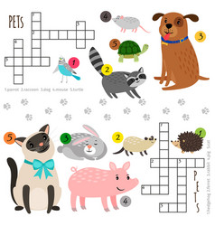 cartoon pets mini crosswords vector image