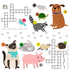 Cartoon pets mini crosswords vector
