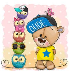 Cartoon teddy bear and owls on a pink background vector