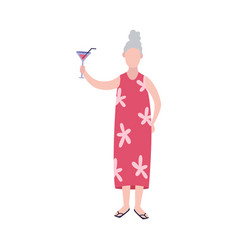 Cheerful senior woman with glass wine flat vector