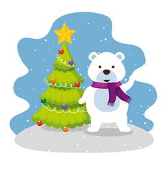 christmas pine tree with snow bear vector image