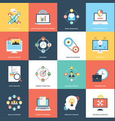 collection of web and seo flat icons vector image