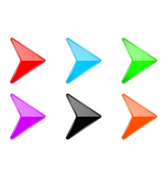 colored shiny 3d arrows glass web icons vector image