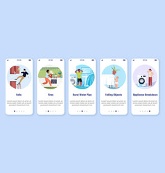 Common home accidents onboarding mobile app vector