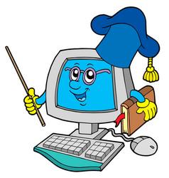 Computer teacher vector
