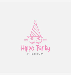 Cute hippo with hat party logo design vector