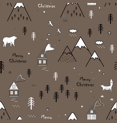 cute seamless scandinavian pattern with bear fox vector image