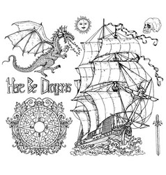 design set with ancient sailboat dragon vector image