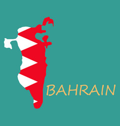 Detailed of a map of bahrain with flag eps10 vector