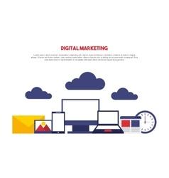 Digital marketing set line icons vector