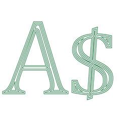 dollar australia currency symbol icon vector image