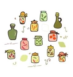 Doodle Jars set vector