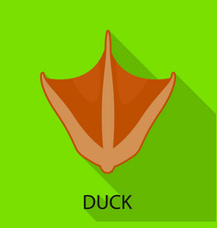 Duck and paw icon set of vector