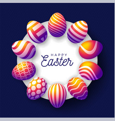 Easter insta color egg banner easter card with vector