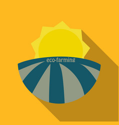 Ecologically clean field and sunrise icon vector