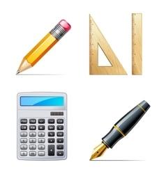 Education icons Pencil pen calculator ruler vector image