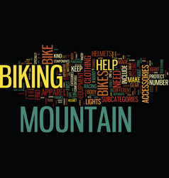 Equipment for mountain bikes text background word vector