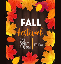 Fall festival background with shiny autumn natural vector