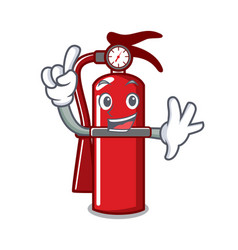Finger fire extinguisher mascot cartoon vector