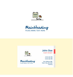 flat beach logo and visiting card template vector image