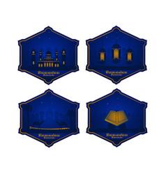 Flat label ramadan kareem blue and gold badge vector