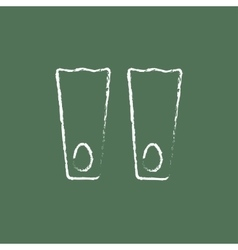 Flippers icon drawn in chalk vector image