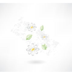 Flowers grunge icon vector