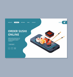 food delivery sushi seafood landing website page vector image